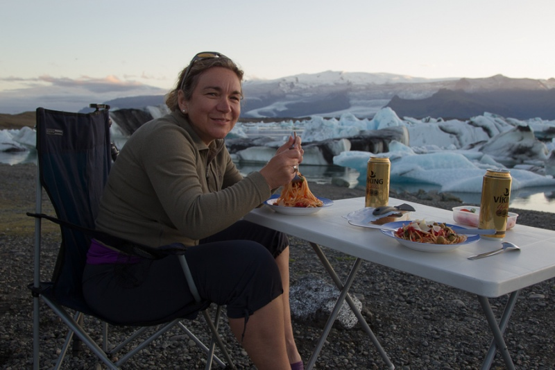 Island 2011 - Jökulsárlón - Mitternachtsdinner